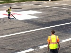 APM crew servicing Helicopter landing pad