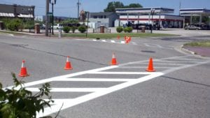 Crosswalk painting by Advanced Pavement Marking