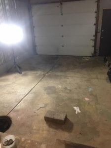 Garage floor before painting