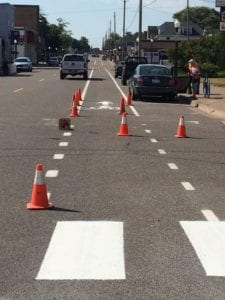 Bike lane - crosswalk markings by Advanced Pavement Marking
