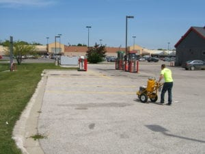 Line striping a parking lot