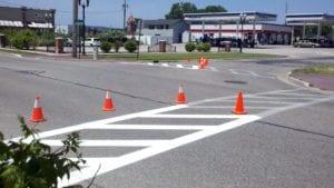 City crosswalk painting by Advanced Pavement Marking