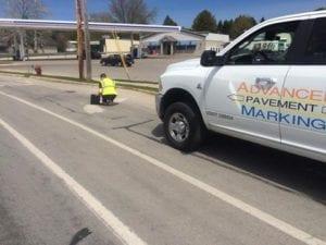 Road marking crew