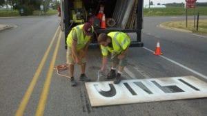 Traffic marking crew