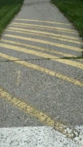 This parking lot striper tired to service an entire townships bike path,to bad they could not properly re stripe! Our crews were hired to fix all of the issues