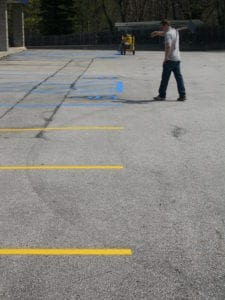 Advanced Pavement Marking striping crew member