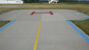 Helicopter landing pad by Advanced Pavement Marking