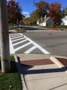 Crosswalk marking by Advanced Pavement Marking