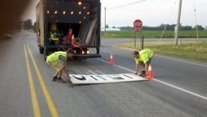 Traffic painting crew