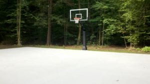Sports court marking (before) our crews began to go to work