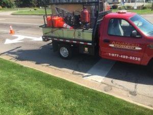 Pavement marking truck