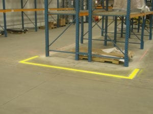Indoor factory safety zone markings