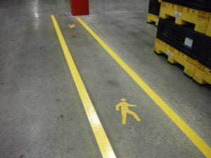 Factory safety zone marking