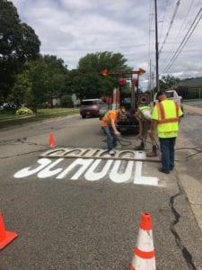 School zone pavement markings