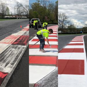 Race track curb painting