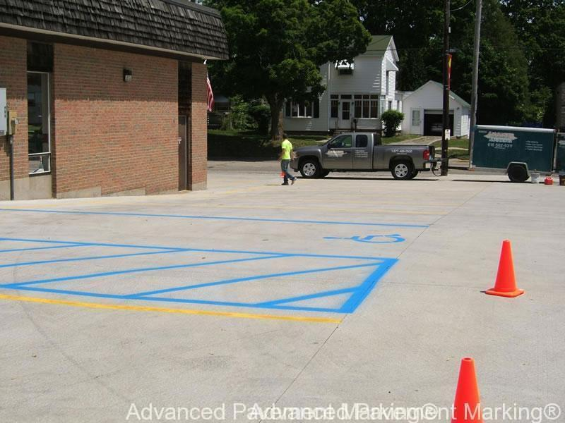 Advanced pavement marking line striping since 2009 for Cost to paint parking lot lines